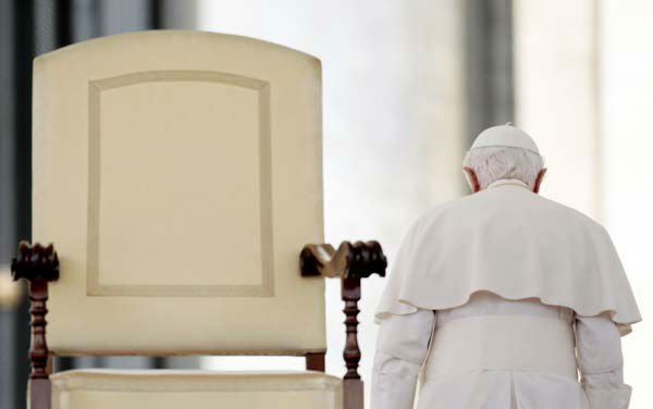 "<div class=""meta image-caption""><div class=""origin-logo origin-image ""><span></span></div><span class=""caption-text"">FILE - This June 16, 2010 file photo shows Pope Benedict XVI leaving at the end of his weekly general audience in St. Peter's Square, at the Vatican. On Monday, Feb. 11, 2013 the Vatican announced that Pope Benedict XVI will resign on Feb. 28, 2013.  (AP Photo/Gregorio Borgia, file) (AP Photo/ Gregorio Borgia)</span></div>"