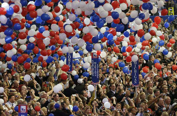 Balloons descend on delegates following Republican presidential nominee Mitt Romney&#39;s speech to delegates during the Republican National Convention in Tampa, Fla., on Thursday, Aug. 30, 2012. &#40;AP Photo&#47;Lynne Sladky&#41; <span class=meta>(AP Photo&#47; Lynne Sladky)</span>