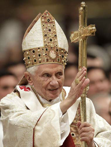 Pope Benedict XVI delivers his blessing as he leaves after celebrating a mass for priests and nuns in St. Peter&#39;s Basilica at the Vatican, Saturday, Feb. 2, 2013. &#40;AP Photo&#47;Riccardo De Luca&#41; <span class=meta>(AP Photo&#47; Riccardo De Luca)</span>
