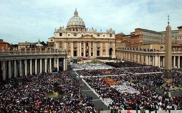 FILE - This April 24, 2005 file photo shows thousands of people attending the installment Mass of Pope Benedict XVI in St. Peter&#39;s Square, at the Vatican. Pope Benedict XVI announced Monday, Feb. 11, 2013 that he would resign on Feb. 28 because he was simply too infirm to carry on ? the first pontiff to do so in nearly 600 years. The decision sets the stage for a conclave to elect a new pope before the end of March. &#40;AP Photo&#47;Gregorio Borgia, files&#41; <span class=meta>(AP Photo&#47; Gregorio Borgia)</span>