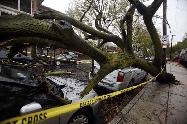 "<div class=""meta ""><span class=""caption-text "">A fallen tree lies on top of a car in south Philadelphia Tuesday Oct. 30, 2012.  Millions of people from Maine to the Carolinas awoke Tuesday without power, and an eerily quiet New York City was all but closed off by car, train and air as superstorm Sandy steamed inland, still delivering punishing wind and rain. (AP Photo/Jacqueline Larma) (AP Photo/ Jacqueline Larma)</span></div>"