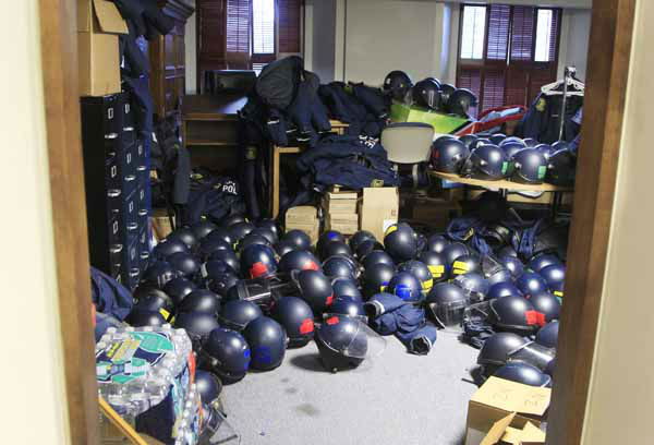 State Police riot helmets and gear are stored before a rally on the State Capitol grounds in Lansing, Mich., Tuesday, Dec. 11, 2012. Crowds are protesting right-to-work legislation that was passed by the state legislature last week. &#40;AP Photo&#47;Carlos Osorio&#41; <span class=meta>(AP Photo&#47; Carlos Osorio)</span>