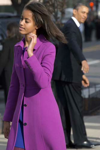"<div class=""meta ""><span class=""caption-text "">Malia Obama walks away from St. John's Church past President Barack Obama after a church service during the 57th Presidential Inauguration in Washington, Monday, Jan. 21, 2013. (AP Photo/Jacquelyn Martin) (AP Photo/ Jacquelyn Martin)</span></div>"