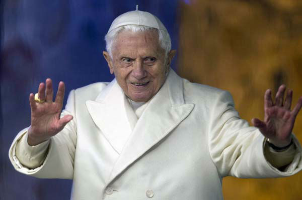 "<div class=""meta ""><span class=""caption-text "">Pope Benedict XVI waves from his popemobile as he visits the Nativity St. Peter's Square at the Vatican, Monday, Dec. 31, 2012. Pope Benedict XVI marked the end of a difficult year Monday by saying that despite all the death and injustice in the world, goodness prevails. Benedict celebrated New Year's Eve with a vespers service in St. Peter's Basilica to give thanks for 2012 and look ahead to 2013. He looked tired during the service and used a cane afterward ? an indication that the busy Christmas season may be taking a toll on the 85-year-old Benedict. (AP Photo/Andrew Medichini) (AP Photo/ Andrew Medichini)</span></div>"