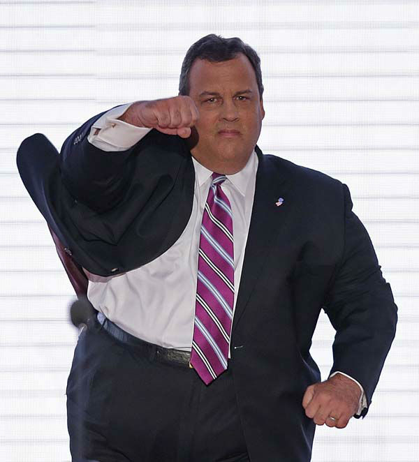 New Jersey Governor Chris Christie walks onto the stage at the Republican National Convention in Tampa, Fla. on Tuesday, Aug. 28, 2012.  &#40;AP J. Scott Applewhite&#41; <span class=meta>(AP Photo&#47; J. David Ake)</span>