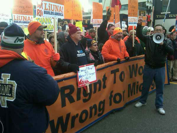 "<div class=""meta ""><span class=""caption-text "">Union members gather in Lansing, Mich., Tuesday Dec. 11, 2012, to protest right-to-work legislation.  Even with the outcome considered a foregone conclusion, the heated battle over right-to-work legislation in the traditional union bastion of Michigan showed no sign of cooling Tuesday as lawmakers prepared to cast final votes.  (AP Photo/Corey R. Williams) (AP Photo/ Corey R. Williams)</span></div>"