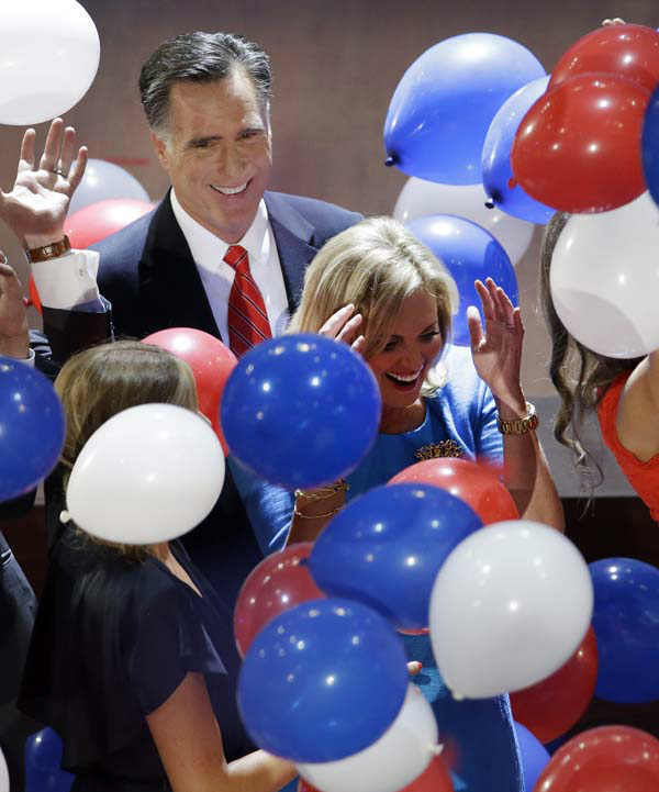 "<div class=""meta ""><span class=""caption-text "">Republican presidential nominee Mitt Romney watches as balloons fall around him and his wife Ann during the Republican National Convention in Tampa, Fla., on Friday, Aug. 31, 2012.  (AP Photo/Patrick Semansky)</span></div>"