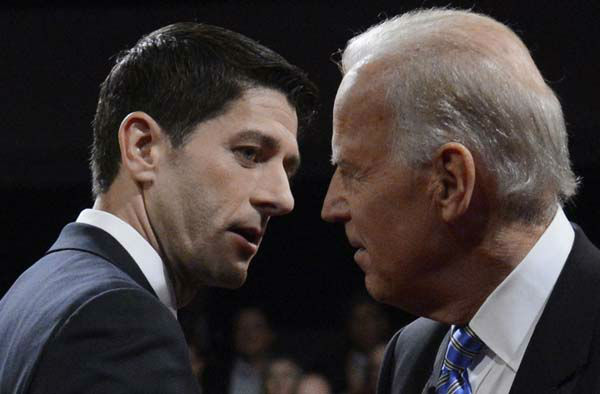 Vice President Joe Biden and Republican vice presidential nominee Rep. Paul Ryan of Wisconsin shake hands after the vice presidential debate at Centre College, Thursday, Oct. 11, 2012, in Danville, Ky. &#40;AP Photo&#47;Pool-Michael Reynolds&#41; <span class=meta>(AP Photo&#47; Michael Reynolds)</span>