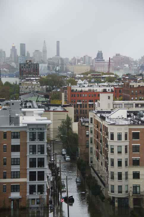 Flooded streets of Hoboken, N.J., and the New York City skyline are seen in aftermath of Hurricane Sandy on Tuesday, Oct. 30, 2012 in Hoboken, NJ. &#40;AP Photo&#47;Charles Sykes&#41; <span class=meta>(AP Photo&#47; Charles Sykes)</span>