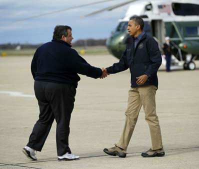 President Barack Obama is greeted by New Jersey Gov. Chris Christie upon his arrival at Atlantic City International Airport, Wednesday, Oct. 31, 2012, in Atlantic City. Obama traveled to region to take an aerial tour of the Atlantic Coast over areas damaged by superstorm Sandy,   <span class=meta>(AP Photo&#47; Pablo Martinez Monsivais)</span>