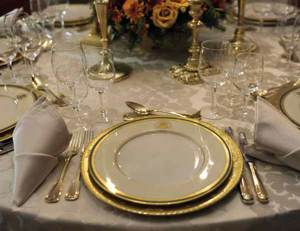"<div class=""meta ""><span class=""caption-text "">The Truman China is set on a table in the China Room of the White House in Washington, Wednesday, Nov. 28, 2012, during a preview of the holiday decorations. This set was first selected by First lady Bess Truman in 1951 and is the first state china service to feature the Presidential Coat of Arms as redesigned by President Harry Truman in 1945. The theme for the White House Christmas 2012 is Joy to All. (AP Photo/Susan Walsh) (AP Photo/ Susan Walsh)</span></div>"