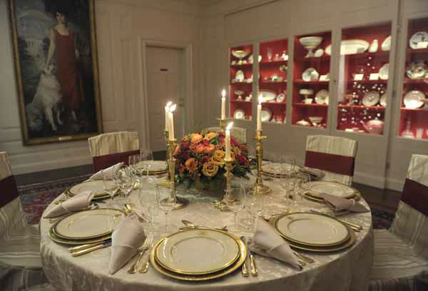 The Truman China is set on a table in the China Room of the White House in Washington, Wednesday, Nov. 28, 2012, during a preview of the holiday decorations. This set was first selected by First lady Bess Truman in 1951 and is the first state china service to feature the Presidential Coat of Arms as redesigned by President Harry Truman in 1945. The theme for the White House Christmas 2012 is Joy to All. &#40;AP Photo&#47;Susan Walsh&#41; <span class=meta>(AP Photo&#47; Susan Walsh)</span>