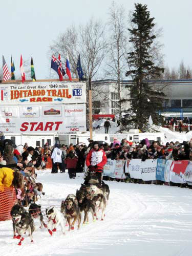 "<div class=""meta image-caption""><div class=""origin-logo origin-image ""><span></span></div><span class=""caption-text"">Lance Mackey takes off in the Iditarod Trail Sled Dog Race, Sunday, March 3, 2013, in Willow, Alaska. 65 teams will be making their way through punishing wilderness toward the finish line in Nome on Alaska's western coast 1,000 miles away. (AP Photo/Rachel D'Oro) (AP Photo/ Rachel D'Oro)</span></div>"