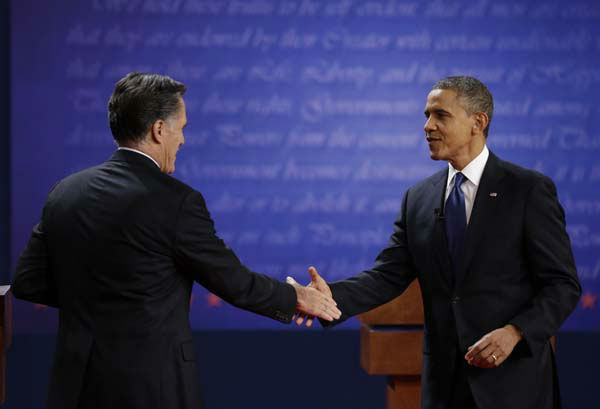 "<div class=""meta ""><span class=""caption-text "">President Barack Obama, right, shakes hands with Republican presidential nominee Mitt Romney after the first presidential debate at the University of Denver, Wednesday, Oct. 3, 2012, in Denver. (AP Photo/David Goldman) (AP Photo/ David Goldman)</span></div>"