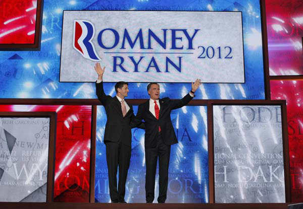 Republican presidential nominee Mitt Romney joined by Republican vice presidential nominee, Rep. Paul Ryan, waves to delegates after speaking at the Republican National Convention in Tampa, Fla., on Thursday, Aug. 30, 2012.  &#40;AP Photo&#47;Charles Dharapak&#41; <span class=meta>(AP Photo&#47; Charles Dharapak)</span>