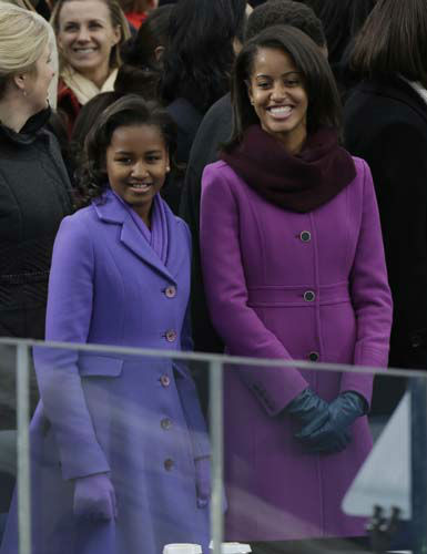 Sasha and Malia Obama arrive at the ceremonial swearing-in of their father President Barack Obama at the U.S. Capitol during the 57th Presidential Inauguration in Washington, Monday, Jan. 21, 2013. &#40;AP Photo&#47;Pablo Martinez Monsivais&#41; <span class=meta>(AP Photo&#47; Pablo Martinez Monsivais)</span>
