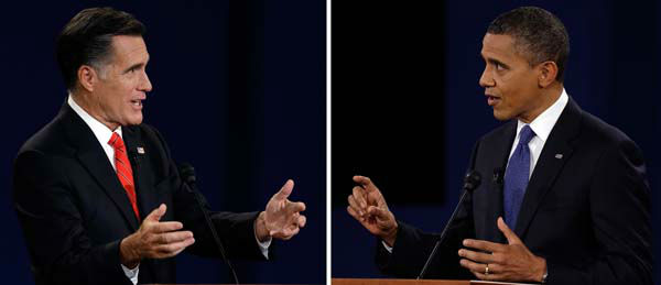 "<div class=""meta ""><span class=""caption-text "">In a photo combo, President Barack Obama, right, and Republican presidential nominee Mitt Romney speak during the first presidential debate at the University of Denver, Wednesday, Oct. 3, 2012, in Denver. (AP Photo/Charlie Neibergall) (AP Photo/ Charlie Neibergall)</span></div>"