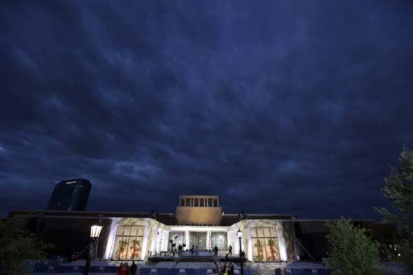 Production crews put the finishing touches on the stage before the dedication ceremony of the George W. Bush Presidential Center, Thursday, April 25, 2013, in Dallas. &#40;AP Photo&#47;David J. Phillip&#41; <span class=meta>(AP Photo&#47; David J. Phillip)</span>