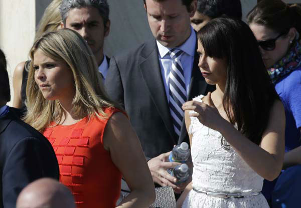 Jenna Bush Hager, left and her sister Barbara arrive for the dedication of the George W. Bush Presidential Center Thursday, April 25, 2013, in Dallas. &#40;AP Photo&#47;David J. Phillip&#41; <span class=meta>(AP Photo&#47; David J. Phillip)</span>