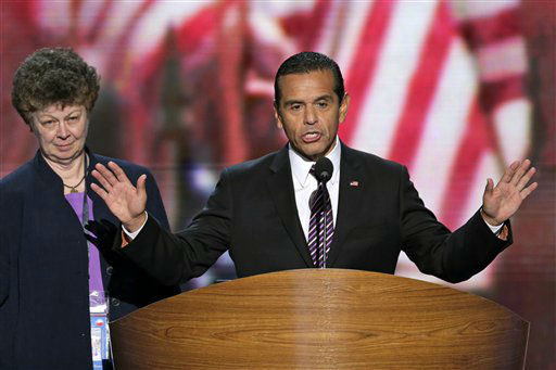 "<div class=""meta ""><span class=""caption-text "">Los Angeles Mayor and Democratic Convention Chairman Antonio Villaraigosa calls for a vote to amend the platform at the Democratic National Convention in Charlotte, N.C., on Wednesday, Sept. 5, 2012. (AP Photo/J. Scott Applewhite) (AP Photo/ J. Scott Applewhite)</span></div>"