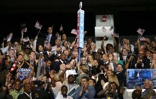 New York delegates celebrate as President Barack Obama is nominated for the Office of the President of the United States at the Democratic National Convention in Charlotte, N.C., on Thursday, Sept. 6, 2012. &#40;AP Photo&#47;Jae C. Hong&#41; <span class=meta>(AP Photo&#47; Jae C. Hong)</span>