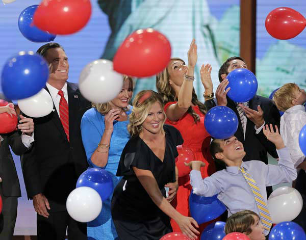"<div class=""meta ""><span class=""caption-text "">Republican presidential nominee Mitt Romney and his family watch the balloons drop during the Republican National Convention in Tampa, Fla., on Thursday, Aug. 30, 2012. (AP Photo/J. Scott Applewhite) (AP Photo/ J. Scott Applewhite)</span></div>"
