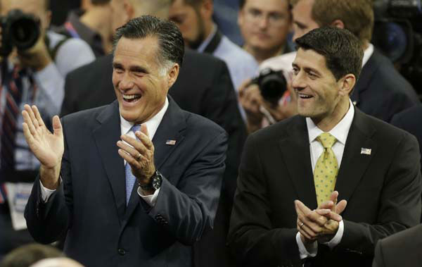 "<div class=""meta ""><span class=""caption-text "">Republican presidential nominee Mitt Romney, left, and vice presidential nominee, Rep. Paul Ryan arrive for a sound check before the Republican National Convention in Tampa, Fla., on Thursday, Aug. 30, 2012. (AP Photo/Charlie Neibergall) (AP Photo/ Charlie Neibergall)</span></div>"