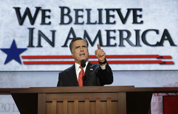 Republican presidential nominee Mitt Romney addresses delegates before speaking at the Republican National Convention in Tampa, Fla., on Thursday, Aug. 30, 2012.  &#40;AP Photo&#47;Charles Dharapak&#41; <span class=meta>(AP Photo&#47; Charles Dharapak)</span>