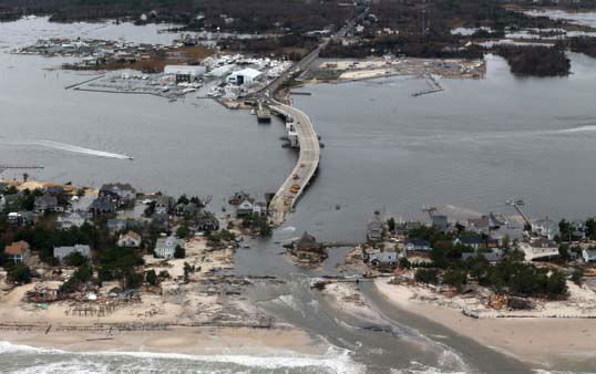 The view of storm damage over the Atlantic Coast in Seaside Heights, N.J.,  Wednesday, Oct. 31, 2012, from a helicopter traveling behind the helicopter carrying President Obama and New Jersey Gov. Chris Christie, as they viewed storm damage from superstorm Sandy.    <span class=meta>(AP Photo&#47; Doug Mills)</span>