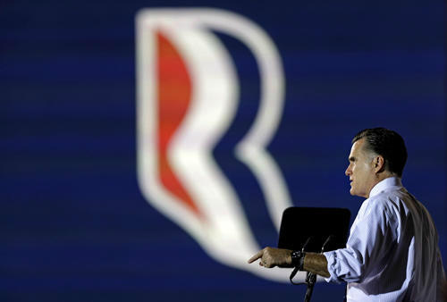 "<div class=""meta ""><span class=""caption-text "">Republican presidential candidate, former Massachusetts Gov. Mitt Romney gestures while speaking during a campaign event at the Orlando Sanford International Airport, Monday, Nov. 5, 2012, in Sanford, Fla. (AP Photo/David Goldman) (AP Photo/ David Goldman)</span></div>"
