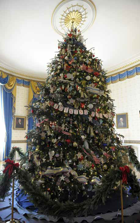 The official White House Christmas tree, an 18-foot-6-inch Frasier fur from Jefferson, N.C., is trimmed with ornaments decorated by children of military families in the Blue Room of the White House in White House in Washington, Wednesday, Nov. 28, 2012, during a preview of the holiday decorations. The theme for the White House Christmas 2012 is Joy to All. &#40;AP Photo&#47;Susan Walsh&#41; <span class=meta>(AP Photo&#47; Susan Walsh)</span>