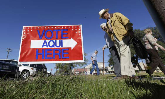 "<div class=""meta ""><span class=""caption-text "">Voters leave the Old Blanco Courthouse after casting their ballots, Tuesday, Nov. 6, 2012, in Blanco, Texas. After a grinding presidential campaign President Barack Obama and Republican presidential candidate, former Massachusetts Gov. Mitt Romney, yield center stage to American voters Tuesday for an Election Day choice that will frame the contours of government and the nation for years to come. (AP Photo/Eric Gay) (AP Photo/ Eric Gay)</span></div>"