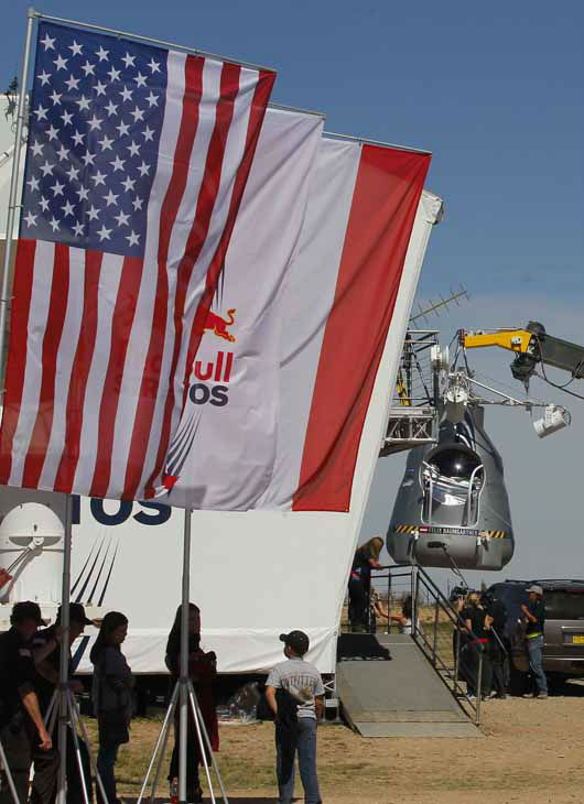"<div class=""meta image-caption""><div class=""origin-logo origin-image ""><span></span></div><span class=""caption-text"">The ascension capsule is moved behind Mission Control after Felix Baumgartner's 23-mile-high jump was aborted, Tuesday, Oct. 9, 2012, in Roswell, NM. Baumgartner was attempting to break the speed of sound with his own body by jumping from the capsule lifted by a 30 million cubic foot helium balloon. Baumgartner planned to jump from an altitude of 120,000 feet--an altitude chosen to enable him to achieve Mach 1 in freefall ? which will deliver scientific data to the aerospace community about human survival from high altitudes. (AP Photo/Matt York) (AP Photo/ Matt York)</span></div>"