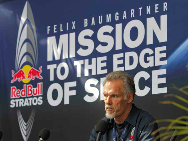 "<div class=""meta image-caption""><div class=""origin-logo origin-image ""><span></span></div><span class=""caption-text"">Mission Control Technical Director Art Thompson speaks after Felix Baumgartner's 23-mile-high jump was aborted, Tuesday, Oct. 9, 2012, in Roswell, NM. Baumgartner was attempting to break the speed of sound with his own body by jumping from a capsule lifted 23 miles high by a 30 million cubic foot helium balloon. (AP Photo/Matt York) (AP Photo/ Matt York)</span></div>"