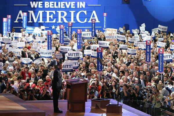 "<div class=""meta ""><span class=""caption-text "">Republican presidential nominee Mitt Romney acknowledges delegates before speaking at the Republican National Convention in Tampa, Fla., on Thursday, Aug. 30, 2012. (AP Photo/Jae C. Hong) (AP Photo/ Jae C. Hong)</span></div>"