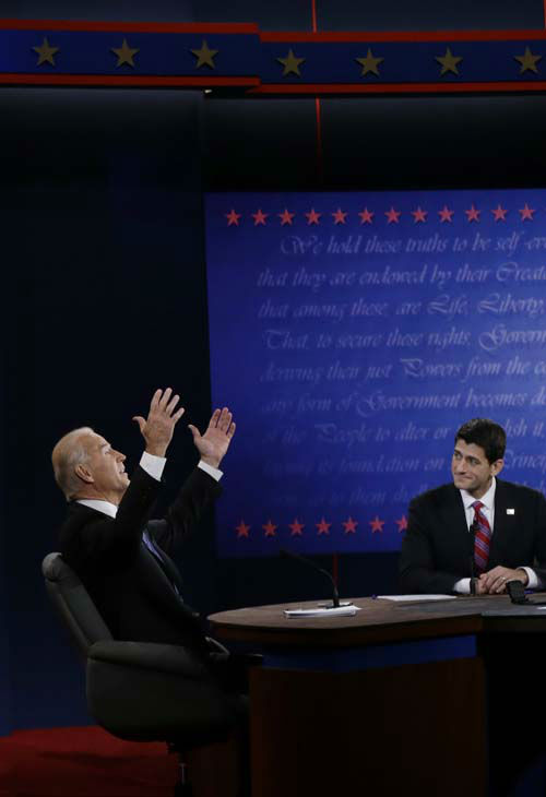 "<div class=""meta ""><span class=""caption-text "">Republican vice presidential nominee Rep. Paul Ryan, of Wisconsin, right, listens to Vice President Joe Biden during the vice presidential debate at Centre College, Thursday, Oct. 11, 2012, in Danville, Ky. (AP Photo/Eric Gay) (AP Photo/ Eric Gay)</span></div>"