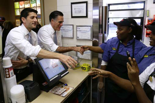Republican presidential candidate, former Massachusetts Gov. Mitt Romney and his vice presidential running mate, Rep. Paul Ryan, R-Wis., make an unscheduled stop at a Wendy&#39;s restaurant in Richmond Heights, Ohio, on Election Day, Tuesday, Nov. 6, 2012. &#40;AP Photo&#47;Charles Dharapak&#41; <span class=meta>(AP Photo&#47; Charles Dharapak)</span>