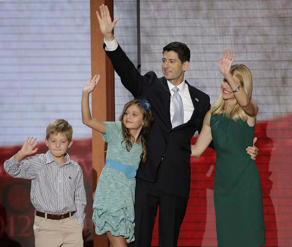 "<div class=""meta ""><span class=""caption-text "">Republican vice presidential nominee, Rep. Paul Ryan, his wife Janna, daughter Liza and son Sam wave from the stage after Ryan's acceptance speech during the Republican National Convention in Tampa, Fla., on Wednesday, Aug. 29, 2012. (AP Photo/J. Scott Applewhite) (AP Photo/ J. Scott Applewhite)</span></div>"
