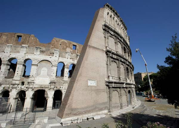 "<div class=""meta ""><span class=""caption-text "">Technicians drop stones from the top of Rome's ancient Colosseum to evaluate possible risks to visitors, Wednesday, July 18, 2012. Colosseum director Rossella Rea said the test are being done to evaluate the eventual need of new safety measures in case of an accidental fall of rocks from the monument. She also said that the recent climate changes, with unusually heavy rains, snowfalls and extreme temperatures are causing micro deterioration that could ease the release of stone fragments. (AP Photo/Andrew Medichini) (AP Photo/ Andrew Medichini)</span></div>"