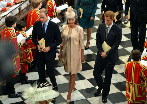 Britain&#39;s Duke and Duchess of Cambridge and Prince Harry, right, leave Westminster Abbey, London, following a service to celebrate the 60th anniversary of the coronation of Britain&#39;s Queen Elizabeth II, Tuesday, June 4, 2013. &#40;AP Photo&#47;Anthony Devlin, Pool&#41; <span class=meta>(AP Photo&#47; Anthony Devlin)</span>