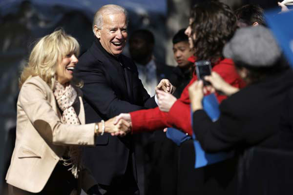 Vice President Joe Biden, accompanied by his wife Jill Biden, meets with supporters during a campaign rally at Heritage Farm Museum at Claude Moore Park, Monday, Nov. 5, 2012, in Sterling, Va. &#40;AP Photo&#47;Matt Rourke&#41; <span class=meta>(AP Photo&#47; Matt Rourke)</span>