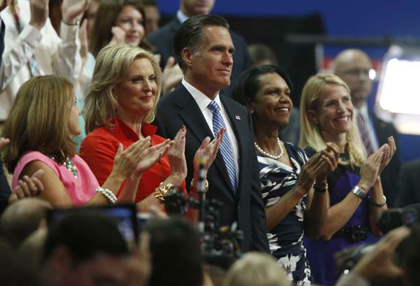 "<div class=""meta ""><span class=""caption-text "">Republican presidential nominee Mitt Romney and his wife Ann applaud with Former Secretary of State Condoleezza Rice, second right, and Republican vice presidential nominee Rep. Paul Ryan's wife Janna, right, following New Jersey Governor Chris Christie's speech to the Republican National Convention in Tampa, Fla., on Tuesday, Aug. 28, 2012. (AP Photo/Jae C. Hong) (AP Photo/ Jae C. Hong)</span></div>"