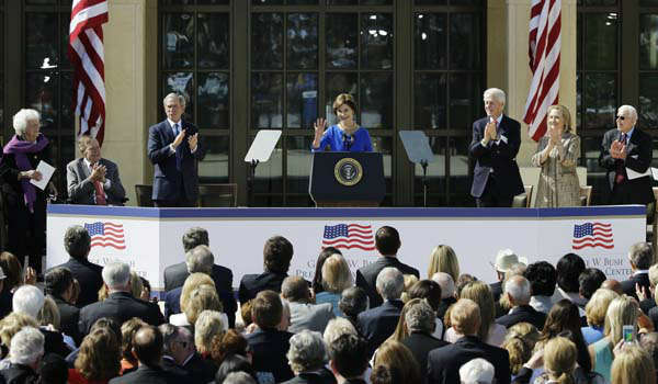 "<div class=""meta image-caption""><div class=""origin-logo origin-image ""><span></span></div><span class=""caption-text"">Former first lady Barbara Bush, center, is applauded after speaking during the dedication of the George W. Bush Presidential Center Thursday, April 25, 2013, in Dallas. (AP Photo/David J. Phillip) (AP Photo/ David J. Phillip)</span></div>"