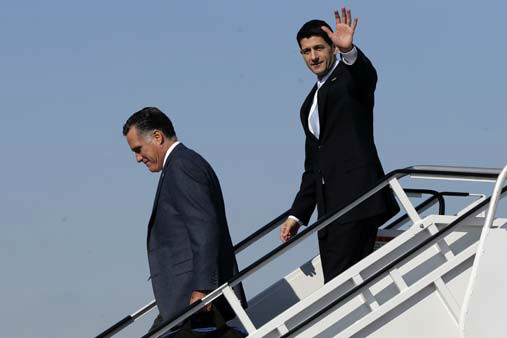 Republican presidential candidate, former Massachusetts Gov. Mitt Romney, followed by his vice presidential running mate, Rep. Paul Ryan, R-Wis., walk off Romney&#39;s plane in Cleveland, Ohio, Tuesday, Nov. 6, 2012. Ryan arrived moments earlier on his own plane and met Romney on board. &#40;AP Photo&#47;Charles Dharapak&#41; <span class=meta>(AP Photo&#47; Charles Dharapak)</span>