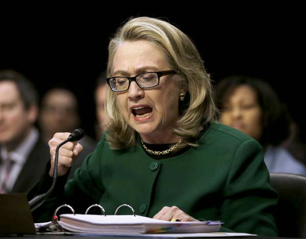 "<div class=""meta ""><span class=""caption-text "">Secretary of State Hillary Rodham Clinton pounds her fist as she testifies on Capitol Hill in Washington, Wednesday, Jan. 23, 2013, before the Senate Foreign Relations Committee hearing on the deadly September attack on the U.S. diplomatic mission in Benghazi, Libya, that killed Ambassador Chris Stevens and three other Americans.  (AP Photo/Pablo Martinez Monsivais) (AP Photo/ Pablo Martinez Monsivais)</span></div>"
