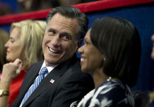 Republican presidential candidate, former Massachusetts Gov. Mitt Romney, left, talks with former Secretary of State Condoleezza Rice at the Republican National Convention on Tuesday, Aug. 28, 2012 in Tampa, Fla.  &#40;AP Photo&#47;Evan Vucci&#41; <span class=meta>(AP Photo&#47; Evan Vucci)</span>