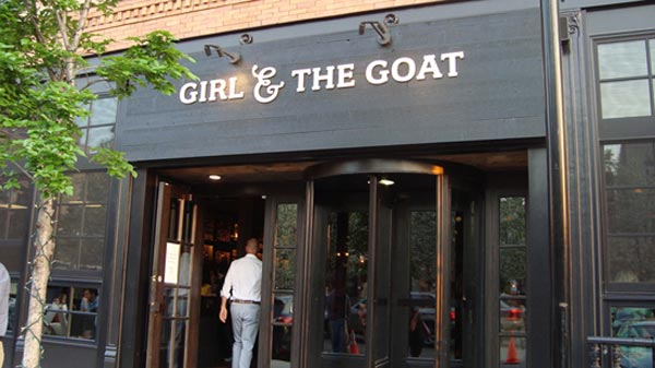 A view from the sidewalk of the Chicago restaurant Girl &amp; The Goat. This restaurant was announced by TripAdvisor to be the fourth favorite restaurant in the country by travelers. <span class=meta>(TripAdvisor)</span>