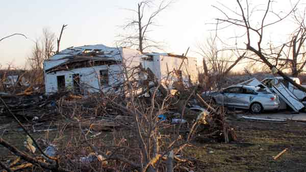 A tornado-damaged home sits amid debris along Main Street, Wednesday, Feb. 29, 2012, in Harveyville, Kan.  <span class=meta>(AP)</span>