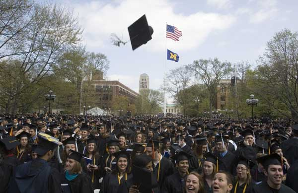 "<div class=""meta image-caption""><div class=""origin-logo origin-image ""><span></span></div><span class=""caption-text"">Ranked No. 6. Ann Arbor, Michigan: University of Michigan graduates celebrate after their spring commencement ceremony in 2008 in Ann Arbor, Mich. [FILE]   (AP/Tony Ding)</span></div>"