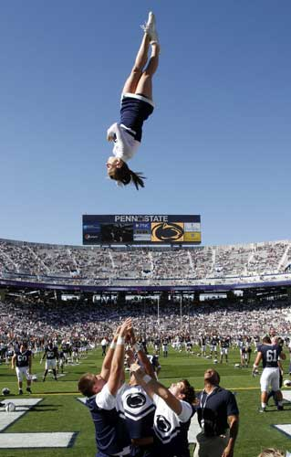 "<div class=""meta image-caption""><div class=""origin-logo origin-image ""><span></span></div><span class=""caption-text"">Ranked No. 3. State College, Pa: Penn State cheerleaders perform before an NCAA college football game at Temple at Beaver Stadium in State College, Pa. [FILE]  (Gene J. Puskar)</span></div>"